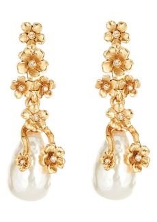 Oscar de la Renta Imitation Pearl Flower Drop Earrings