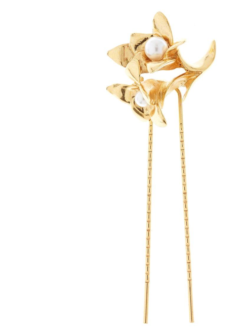 Oscar de la Renta Imitation Pearl Flower Hair Pin