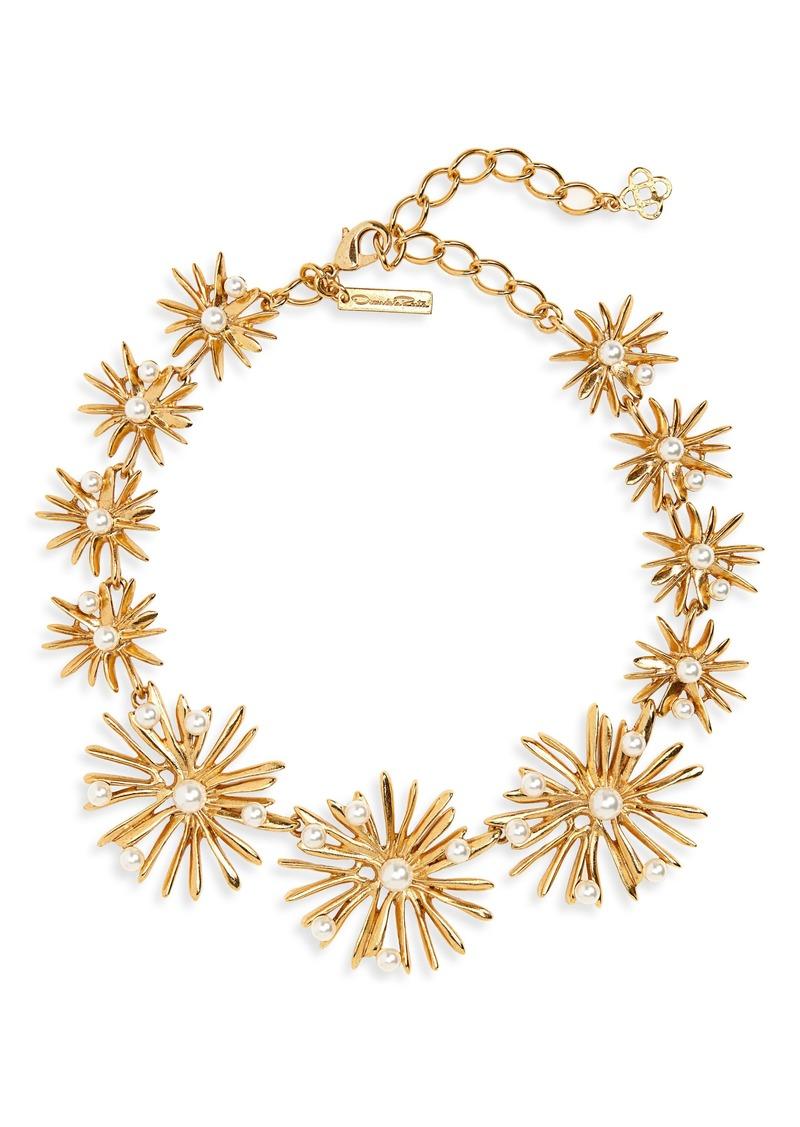 Oscar de la Renta Imitation Pearl Starburst Collar Necklace
