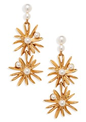 Oscar de la Renta Imitation Pearl Starburst Drop Earrings