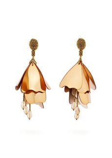 Oscar De La Renta Impatiens floral drop clip-on earrings