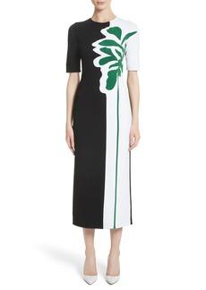 Oscar de la Renta Intarsia Leaf Print Dress