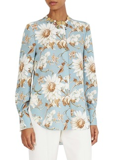 Oscar de la Renta Iris & Daisy Print Shirt