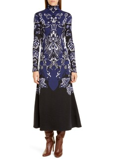 Oscar de la Renta Jacquard Knit Long Sleeve Midi Sweater Dress