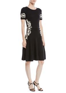 Oscar de la Renta Jewel-Neck Short-Sleeve Wool Knit Cocktail Dress w/ Lace Embroidery