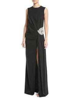 Oscar de la Renta Jewel-Neck Sleeveless Gathered Column Evening Gown w/ Crystal-Brooch