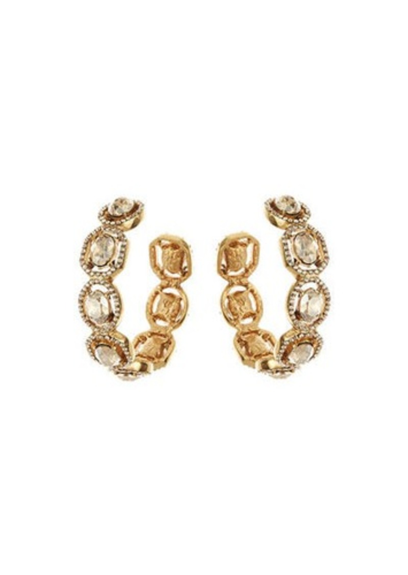 Oscar de la Renta Jeweled Hoop Earrings