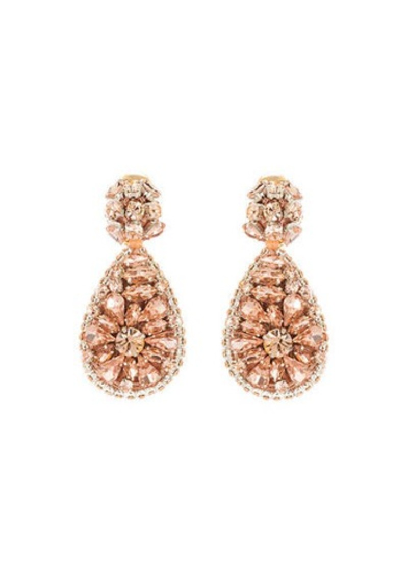 Oscar de la Renta Jeweled Teardrop Clip-On Earrings