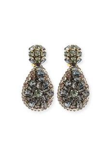 Oscar de la Renta Jeweled Teardrop Clip-On Earrings