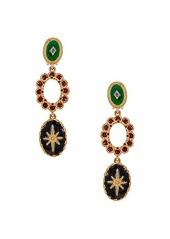 Oscar de la Renta Jeweled Triple Drop Earrings