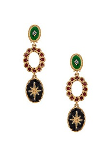 Oscar de la Renta Jeweled Triple Drop Earrings