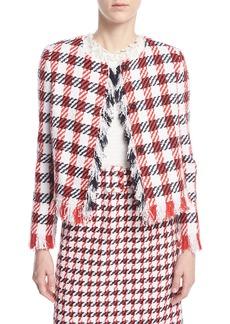 Oscar de la Renta Jumbo Houndstooth Tweed Skirt