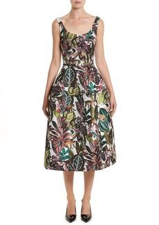 Oscar de la Renta Jungle Jacquard Dress