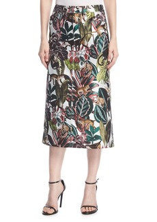 Oscar de la Renta Jungle Jacquard Midi Skirt
