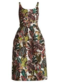 Oscar De La Renta Jungle-jacquard scoop-neck dress