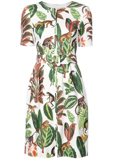 Oscar de la Renta jungle print short sleeve shift dress - White
