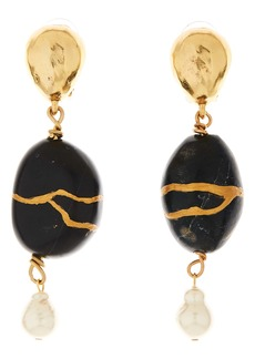Oscar de la Renta Kintsugi Stone & Freshwater Pearl Drop Earrings
