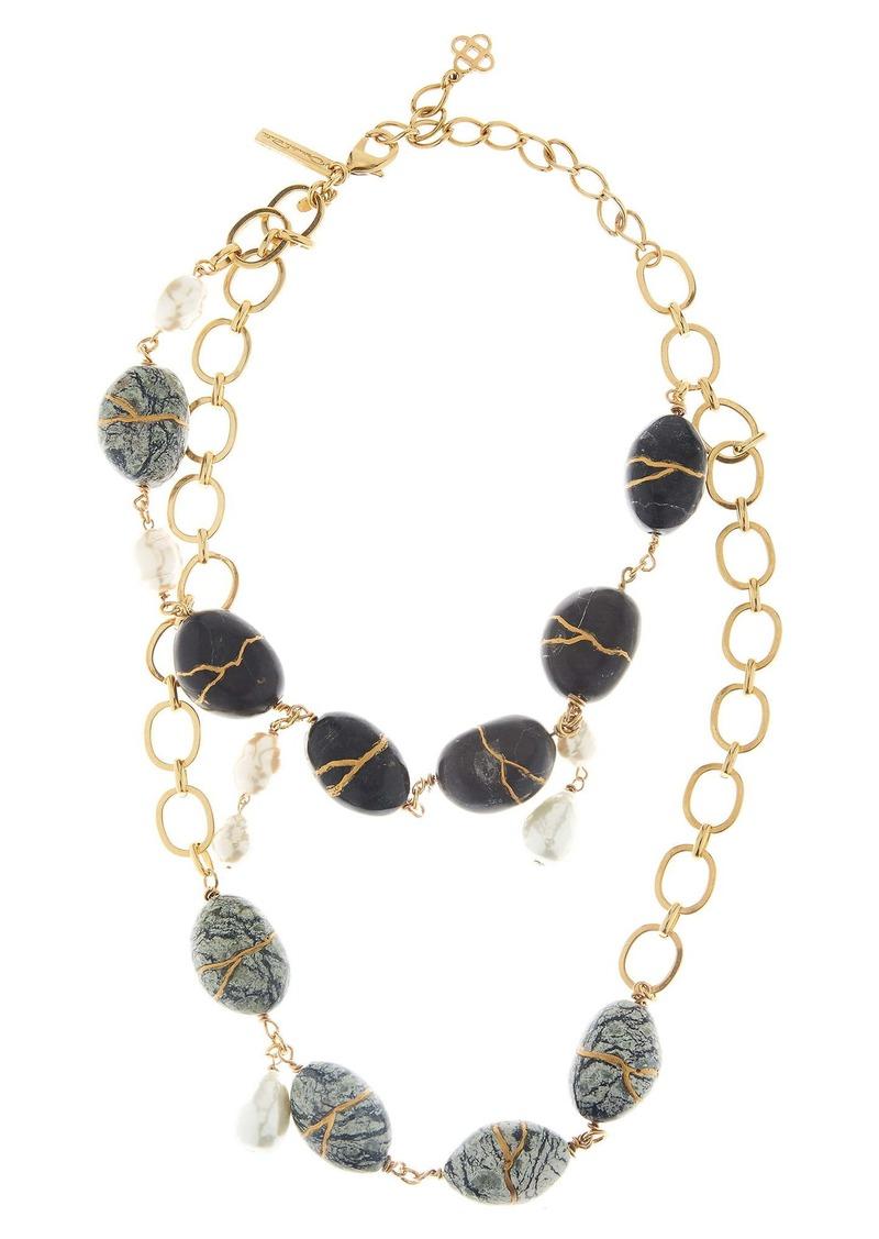 Oscar de la Renta Kintsugi Stone & Freshwater Pearl Necklace