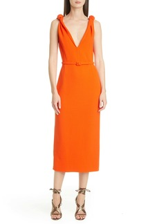 Oscar de la Renta Knot Crepe Midi Sheath Dress