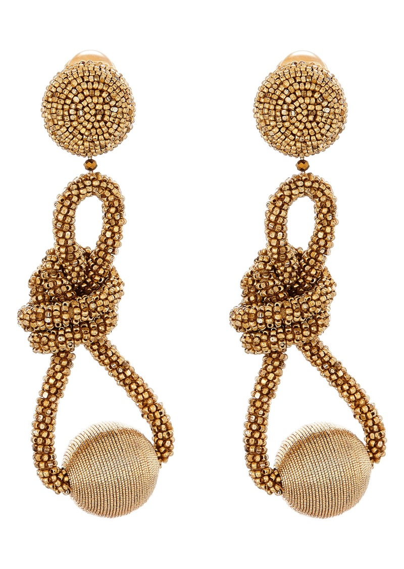 Oscar de la Renta Knotted Bead Clip-On Earrings