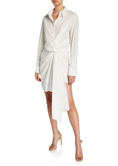 Oscar de la Renta Knotted Cotton Shirtdress