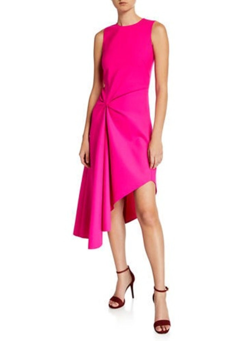 Oscar de la Renta Knotted Crepe Midi Dress