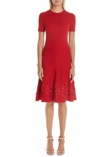 Oscar de la Renta Lace Appliqué Wool A-Line Dress