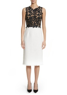 Oscar de la Renta Lace Bodice Sheath Dress