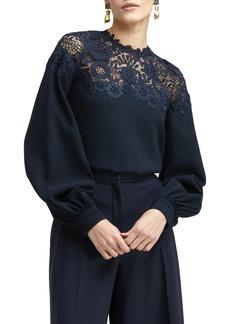 Oscar de la Renta Lace Detail Silk Blouse