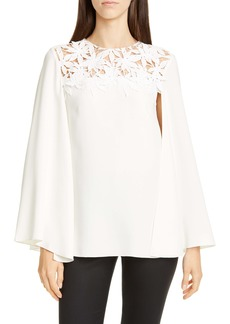 Oscar de la Renta Lace Neck Stretch Silk Blouse