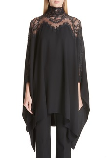 Oscar de la Renta Lace Panel Stretch Silk Top