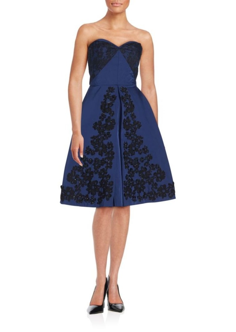 Oscar de la Renta Lace Trim Evening Dress