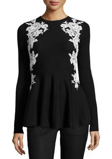 Oscar de la Renta Lace-Trim Knit Peplum Sweater