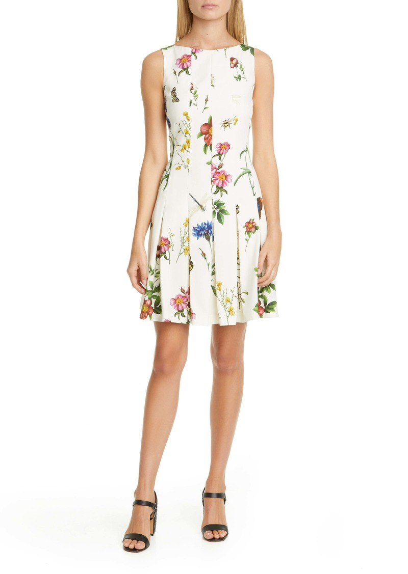 Oscar de la Renta Ladies Pleated Floral Minidress