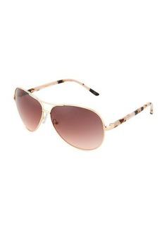 Oscar de la Renta Large Metal Aviator Sunglasses