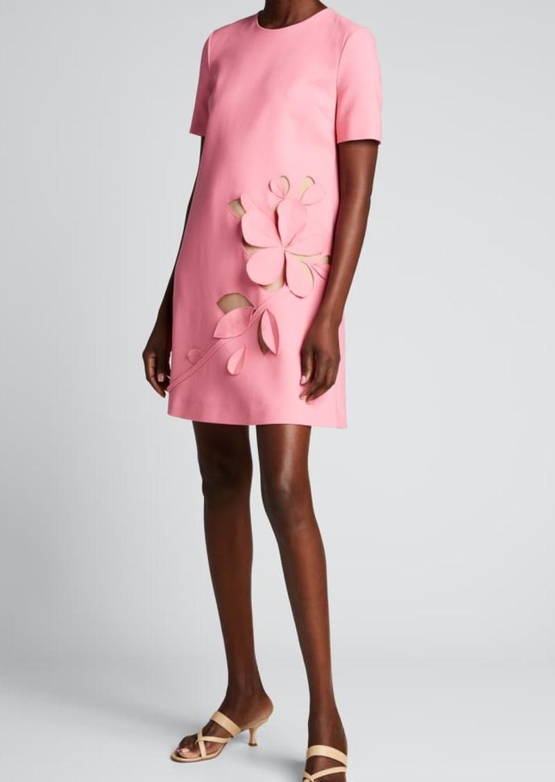 Oscar de la Renta Leaf Applique Short-Sleeve A-Line Dress