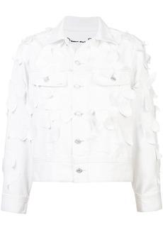 Oscar de la Renta leaf detail denim jacket - White