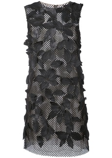 Oscar de la Renta leaf embellished mesh dress - Black