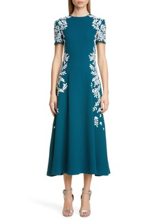Oscar de la Renta Leaf Embroidered Fit & Flare Midi Dress