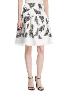 Oscar de la Renta Leaf-Embroidered Party Skirt