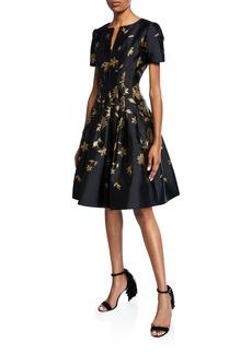 Oscar de la Renta Leaf-Embroidered Short-Sleeve V-Neck Dress