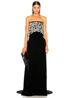 Oscar de la Renta Leaf Embroidered Velvet Strapless Gown