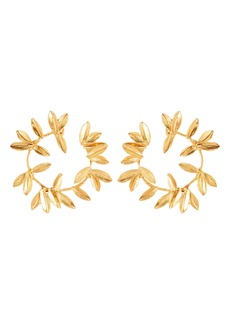 Oscar de la Renta Leaf Hoop Earrings