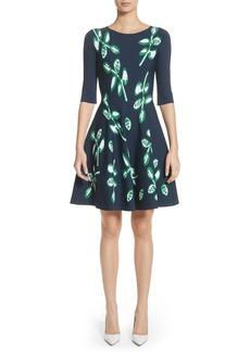 Oscar de la Renta Leaf Intarsia Knit Fit & Flare Dress