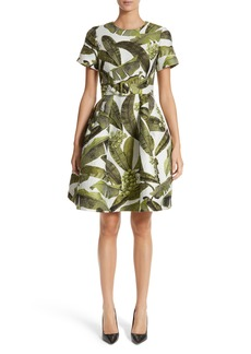 Oscar de la Renta Leaf Jacquard Dress