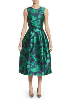Oscar de la Renta Leaf Print Belted Mikado Dress