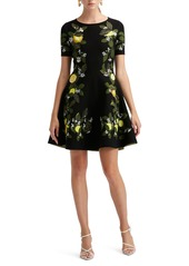 Oscar de la Renta Lemon Jacquard Knit Dress