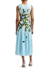 Oscar de la Renta Lemon Print Fit & Flare Midi Dress