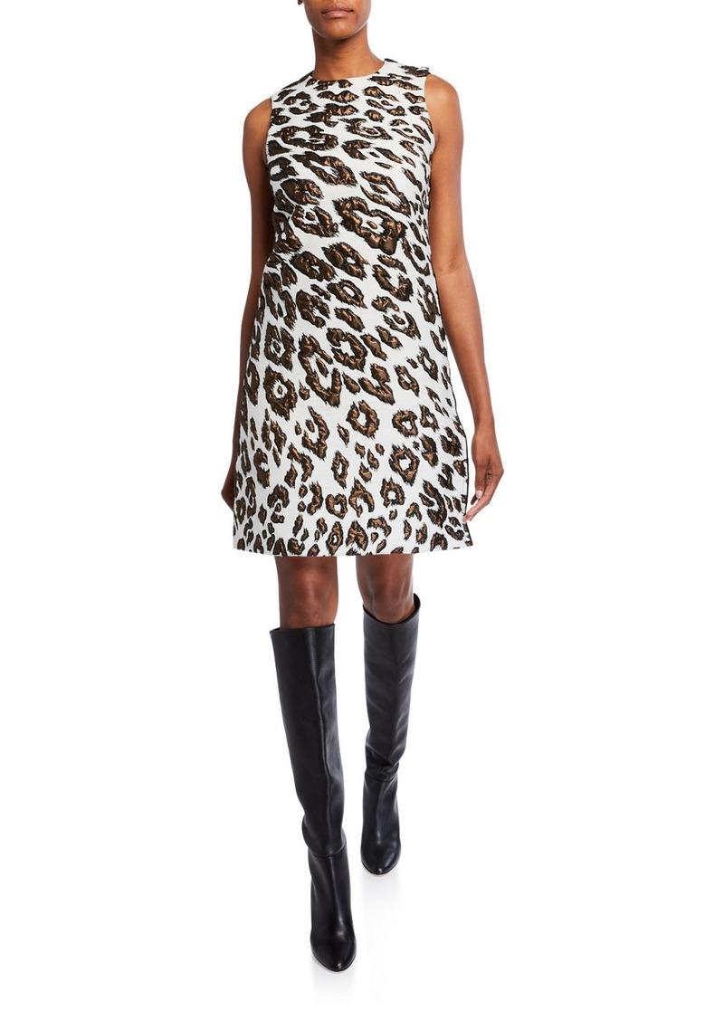 Oscar de la Renta Leopard Brocade Day Dress