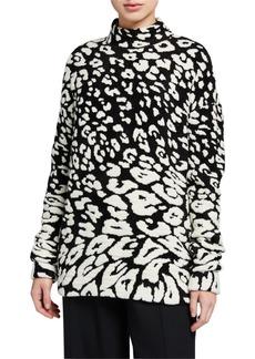 Oscar de la Renta Leopard Jacquard Turtleneck Sweater
